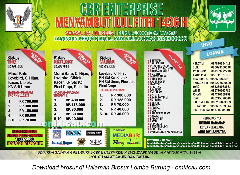 Brosur Lomba Burung Berkicau CBR Enterprise Menyambut Idul Fitri, Bogor, 14 Juli 2015