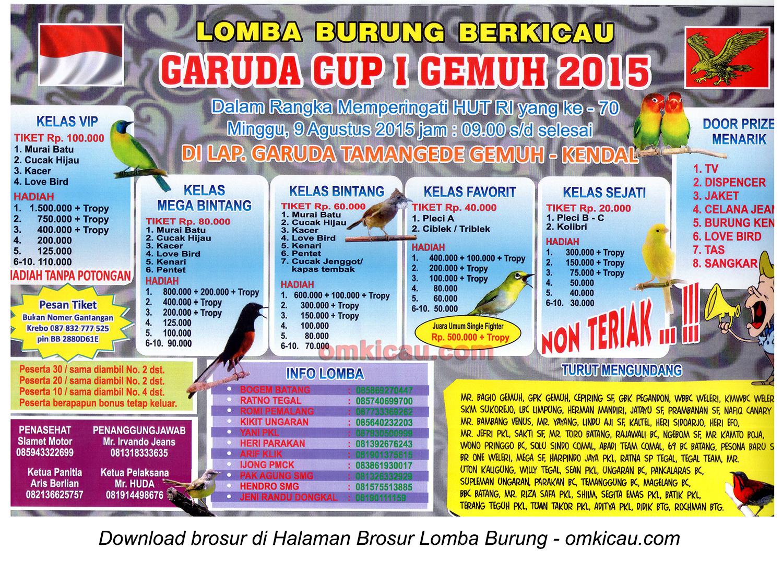 Brosur Lomba Burung Berkicau Garuda Cup I Gemuh 2015, Kendal, 9 Agustus 2015