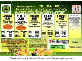 Brosur Lomba Burung Berkicau Gebyar THR Happy Enterprise, Bogor, 15 Juli 2015