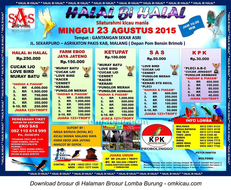Brosur Lomba Burung Berkicau Halal Bihalal, Malang, 23 Agustus 2015