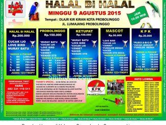 Brosur Lomba Burung Berkicau Halal Bihalal, Probolinggo, 9 Agustus 2015
