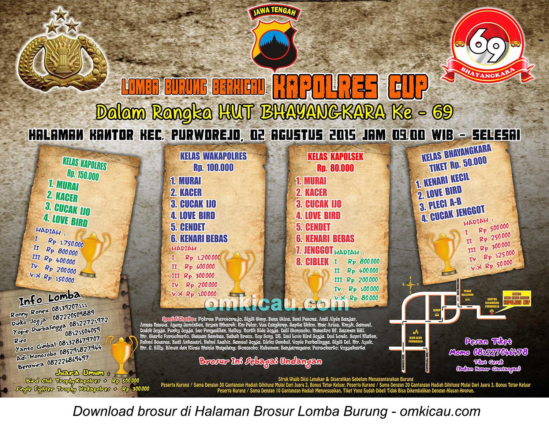 Brosur Lomba Burung Berkicau Kapolres Cup, Purworejo, 2 Agustus 2015