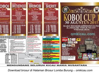 Brosur Lomba Burung Berkicau Koboi Cup1, Jogja, 30 Agustus 2015
