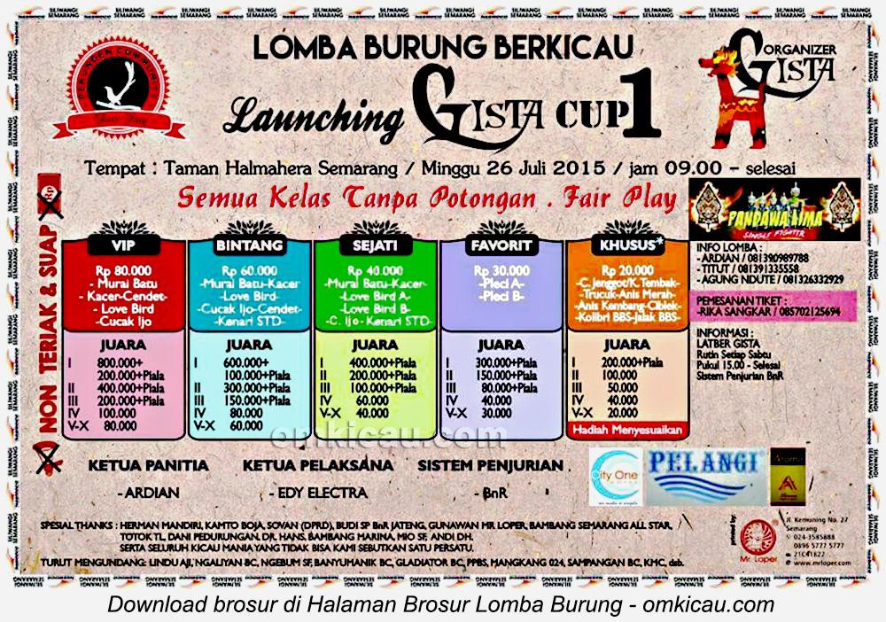Brosur Lomba Burung Berkicau Launching Gista Cup 1, Semarang, 26 Juli 2015