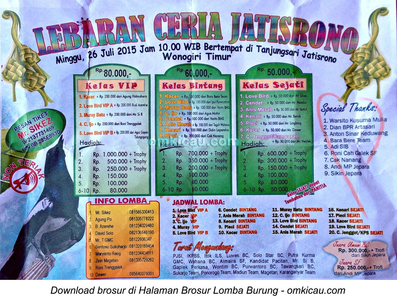 Brosur Lomba Burung Berkicau Lebaran Ceria Jatisrono, Wonogiri, 26 Juli 2015