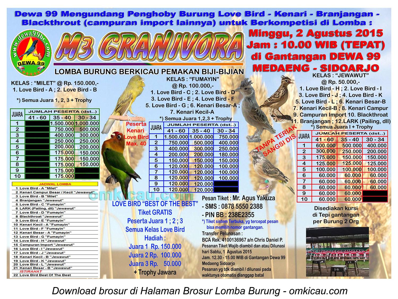 Brosur Lomba Burung Berkicau M3 Granivora Dewa 99, Sidoarjo, 2 Agustus 2015
