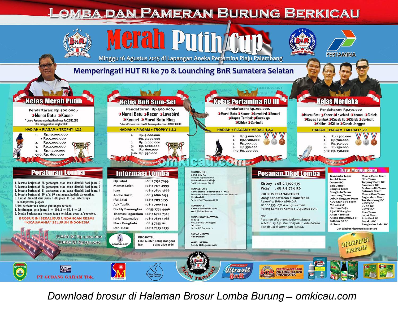 Brosur Lomba Burung Berkicau Merah Putih Cup, Palembang, 16 Agustus 2015