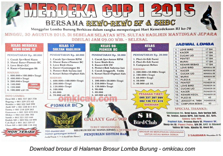 Brosur Lomba Burung Berkicau Merdeka Cup, Jepara, 30 Agustus 2015