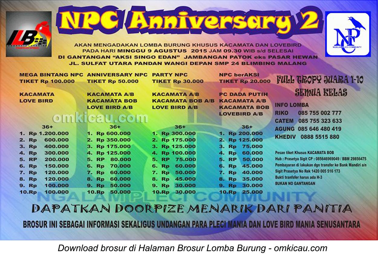 Brosur Lomba Burung Berkicau NPC Anniversary 2, Malang, 9 Agustus 2015