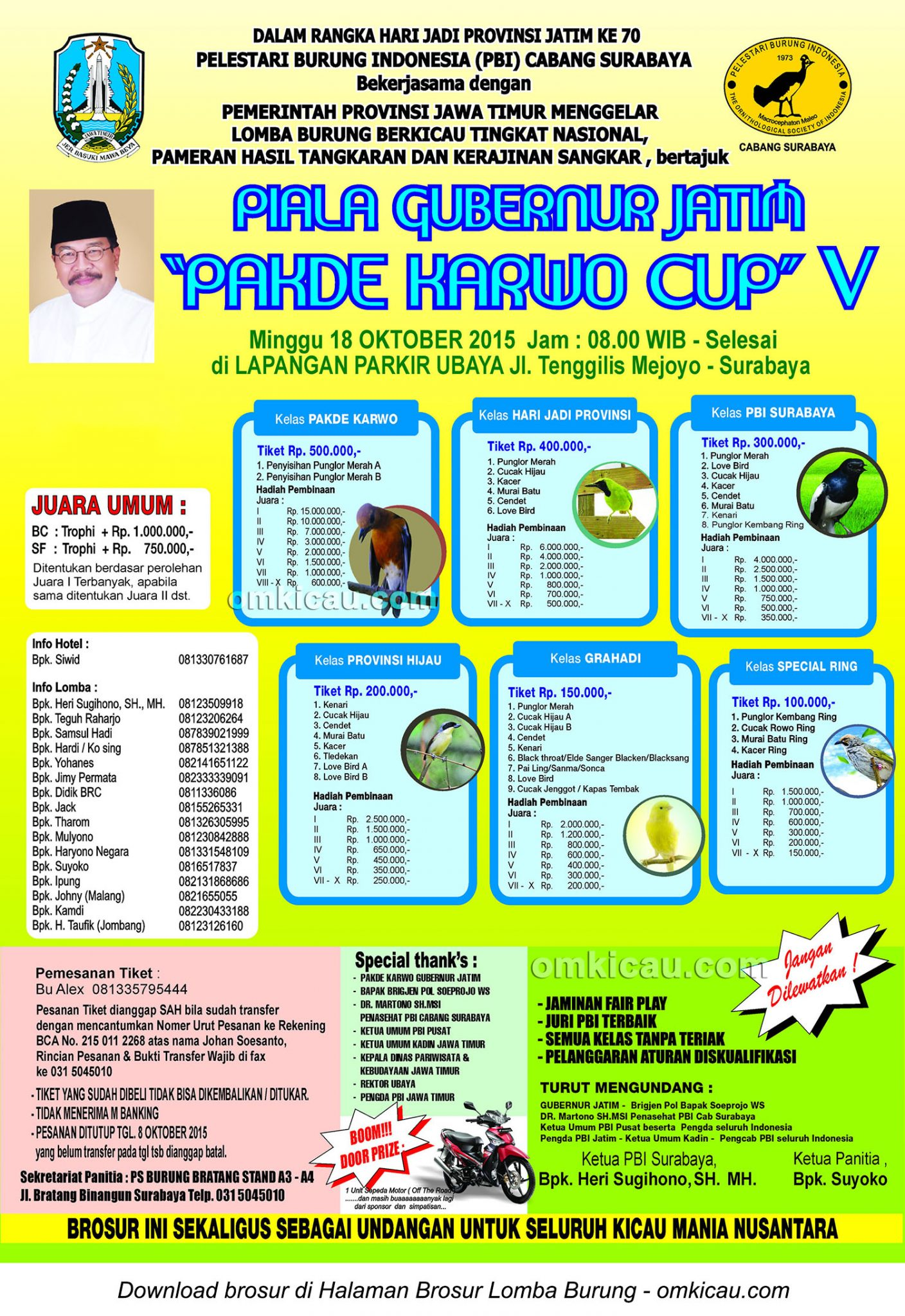 Brosur Lomba Burung Berkicau Pakde Karwo Cup V, Surabaya, 18 Oktober 2015