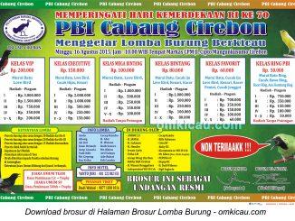 Brosur Lomba Burung Berkicau PBI Cabang Cirebon, 16 Agustus 2015