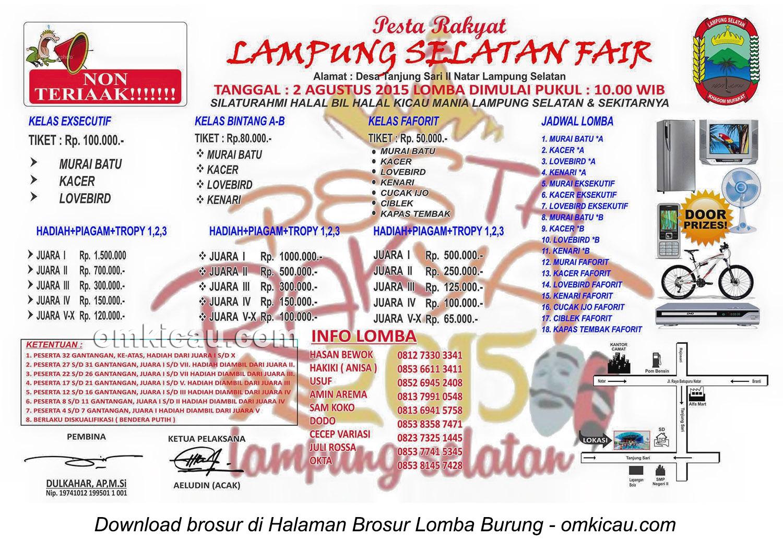 Brosur Lomba Burung Berkicau Pesta Rakyat Lampung Selatan Fair, 2 Agustus 2015