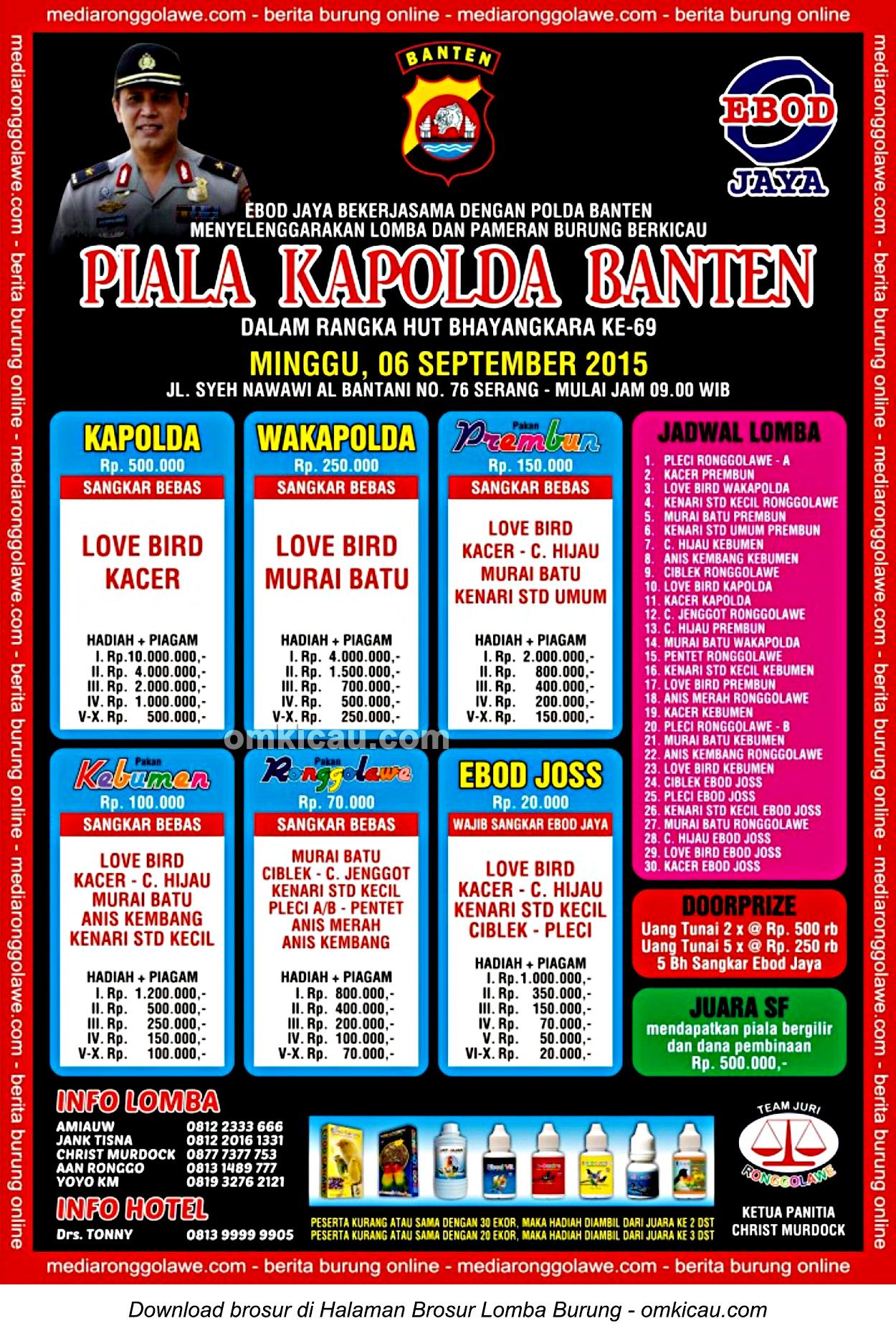 Brosur Lomba Burung Berkicau Piala Kapolda Banten, Serang, 6 September 2015