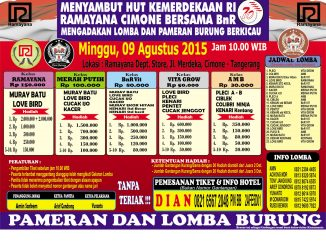 Brosur Lomba Burung Berkicau Ramayana-BnR Menyambut HUT Kemerdekaan RI, Tangerang, 9 Agustus 2015