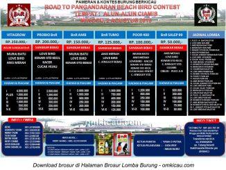 Brosur Lomba Burung Berkicau Road to Pangandaran Beach Bird Contest, Ciamis, 2 Agustus 2015