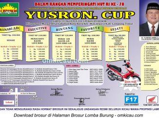 Brosur Lomba Burung Berkicau Yusron Cup, Lampung Timur, 15 Agustus 2015