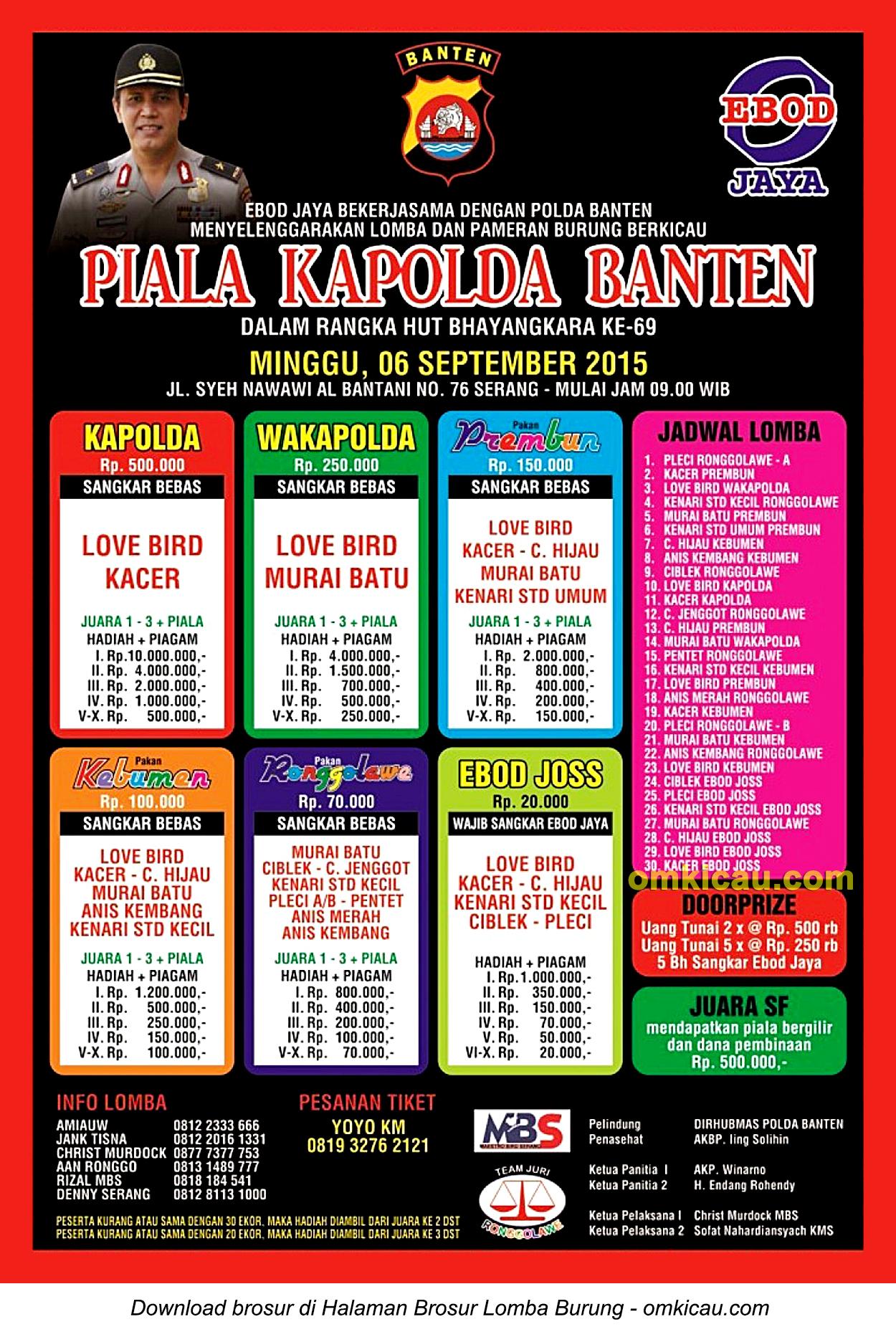 Brosur revisi Lomba Burung Berkicau Piala Kapolda Banten, Serang, 6 September 2015