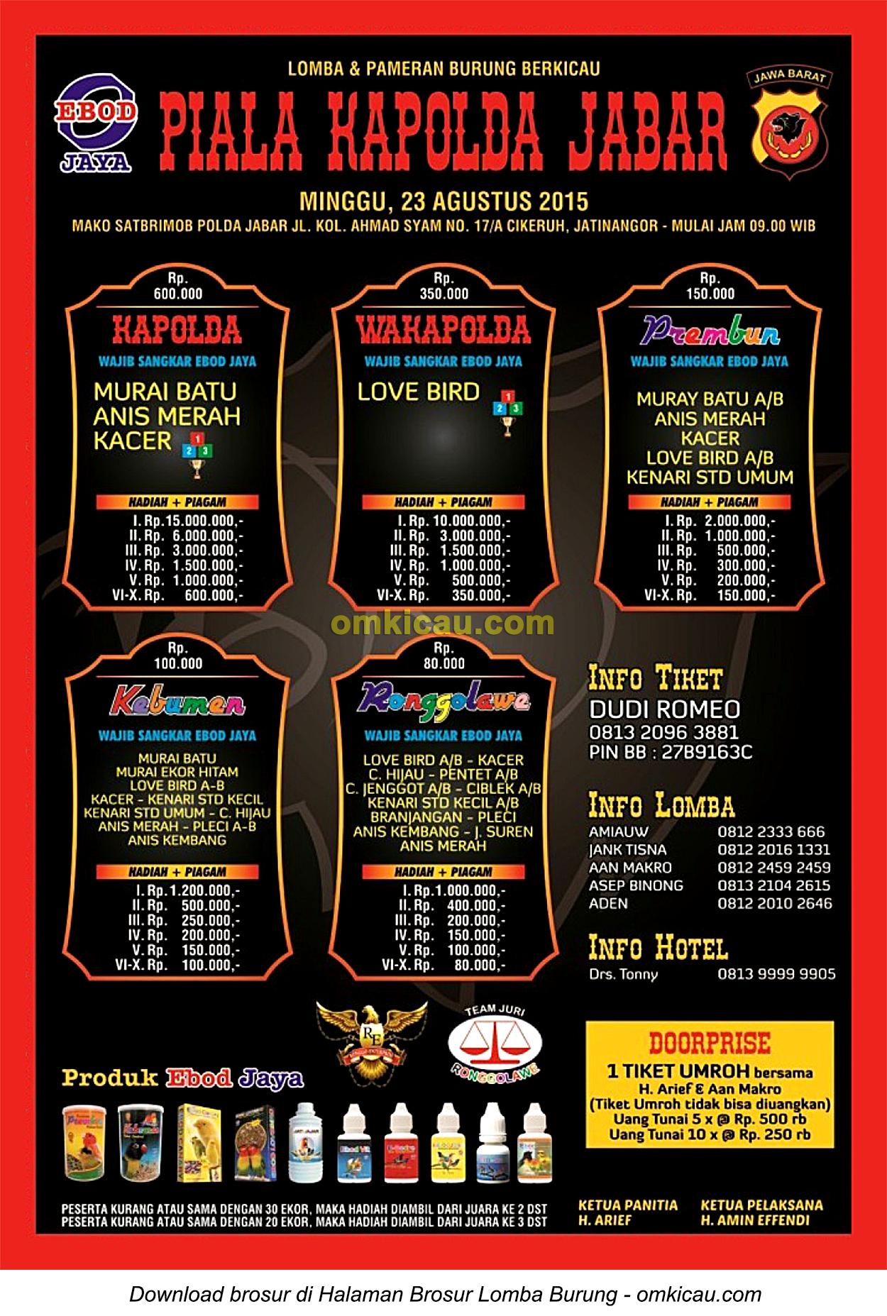 Brosur revisi Lomba Burung Berkicau Piala Kapolda Jabar, Sumedang, 23 Agustus 2015