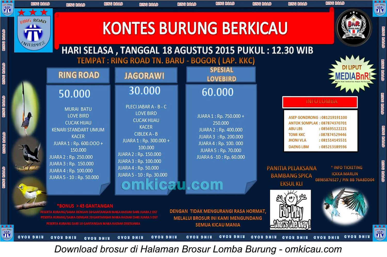 Brosur Kontes Burung Berkicau Ring Road, Bogor, 18 Agustus 2015