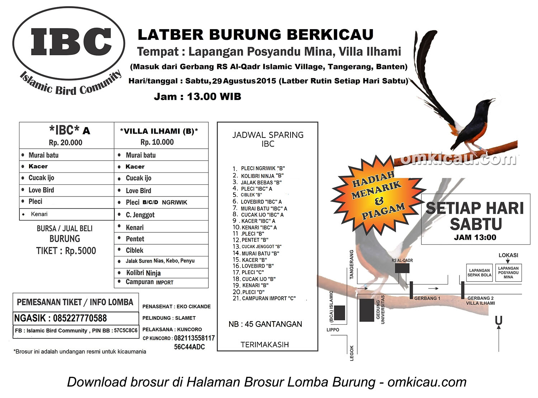 Brosur Latber Burung Berkicau IBC Tangerang, Sabtu 29 Agustus 2015