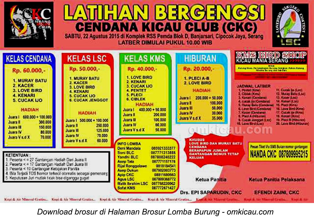 Brosur Latber Cendana Kicau Club, Serang, 22 Agustus 2015