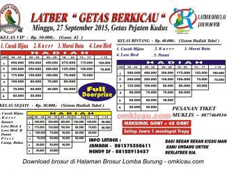 Brosur Latber Getas Berkicau, Kudus, 27 September 2015