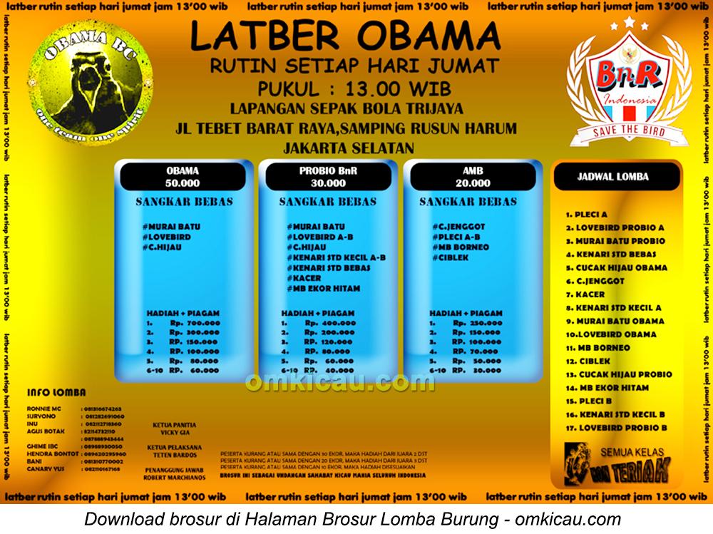 Brosur Latber Obama di Jakarta Selatan, setiap Jumat mulai jam 13