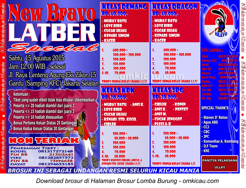 Brosur Latber Special New Bravo, Jakarta Selatan, 15 Agustus 2015