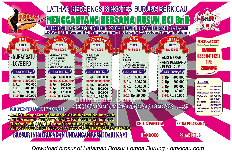 Brosur Latihan Bergengsi Rusun BCI Cengkareng, 6 September 2015
