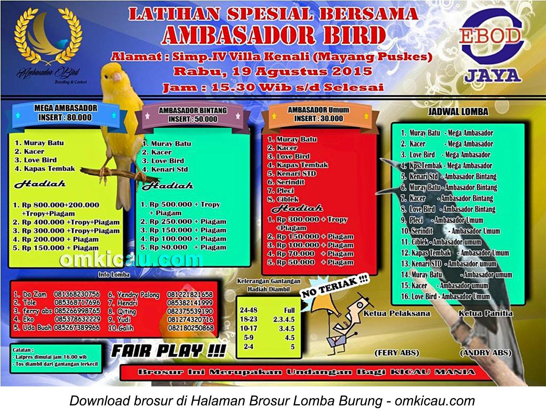 Brosur Latihan Spesial Ambasador Bird, Jambi, 19 Agustus 2015