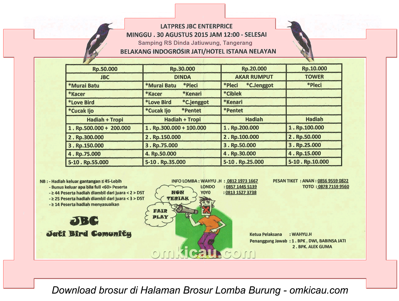 Brosur Latpres Burung Berkicau JBC Enterprise, Tangerang, 30 Agustus 2015