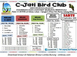 Brosur Latpres Burung Berkicau C-Jati Bird Club, Bekasi, Sabtu 5 September 2015