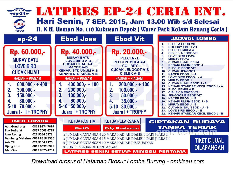 Brosur Latpres Burung Berkicau EP 24 Enterprise Depok, Senin 7 September 2015