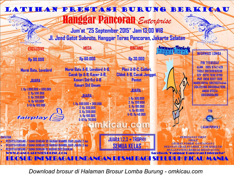 Brosur Latpres Burung Berkicau Hanggar Pancoran Enterprise, Jakarta, 25 September 2015