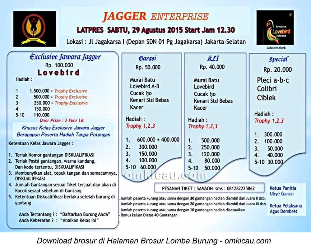 Brosur Latpres Burung Berkicau Jagger Enterprise, Jakarta Selatan, 29 Agustus 2015