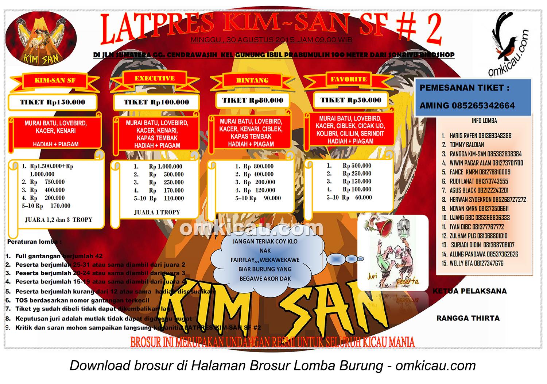 Brosur Latpres Burung Berkicau Kim-San SF #2, Prabumulih, 30 Agustus 2015