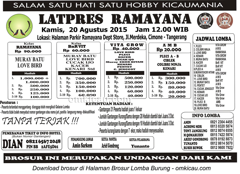 Brosur Latpres Burung Berkicau Ramayana Cimone, Tangerang, 20 Agustus 2015