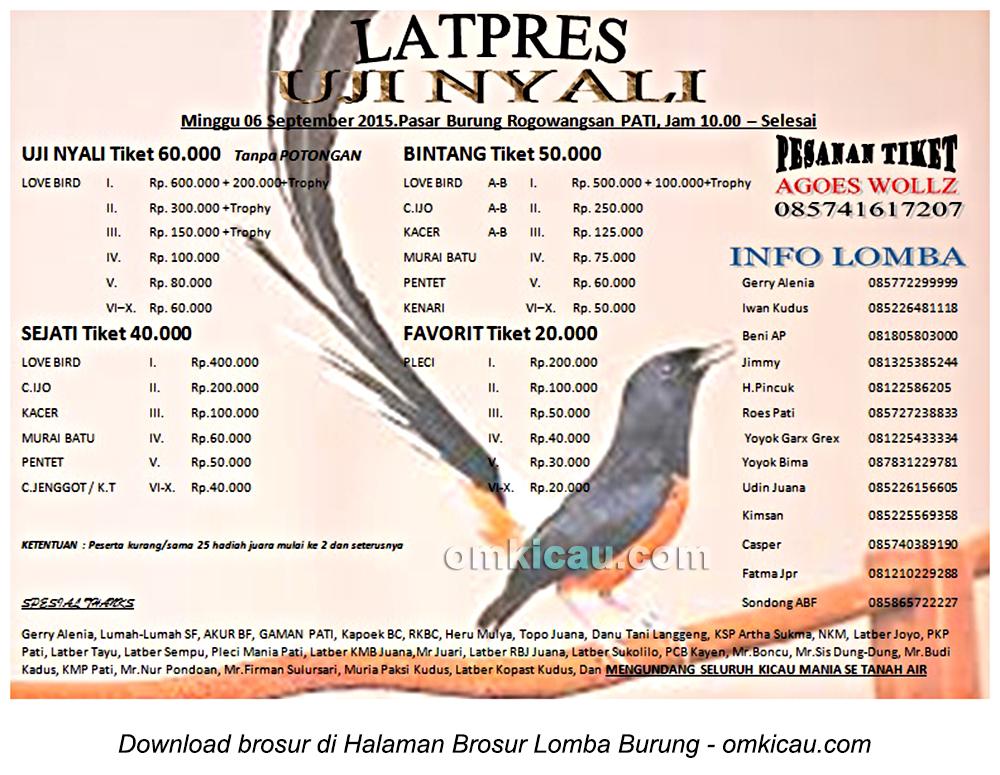 Brosur Latpres Burung Berkicau Uji Nyali, Pati, 6 September 2015