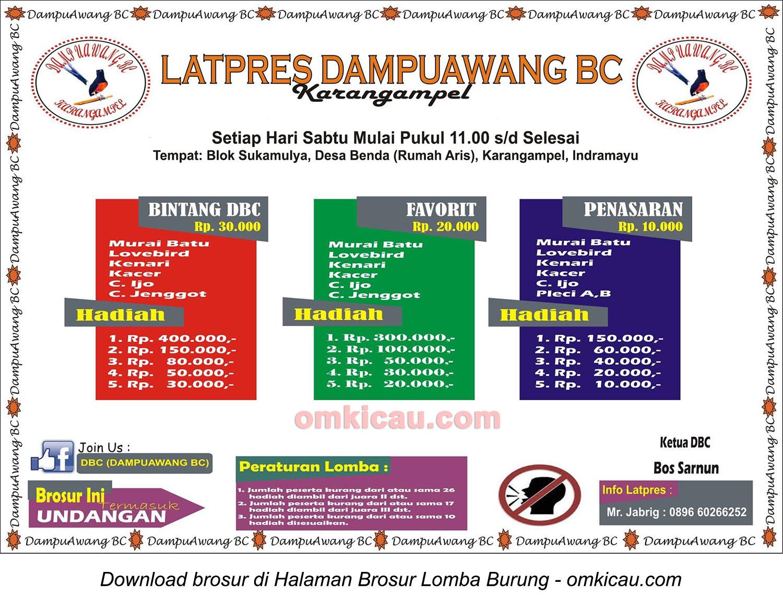 Brosur Latpres Dampu Awang BC Karangampel, Indramayu, setiap Sabtu mulai jam 11