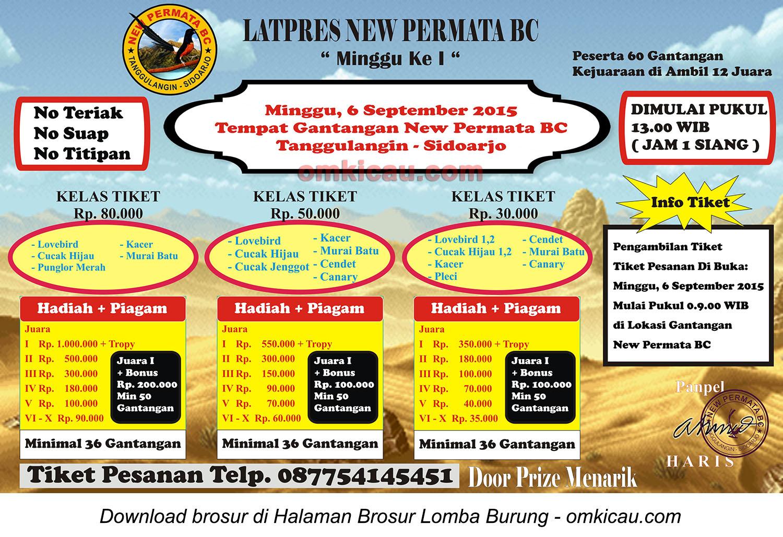Brosur Latpres New Permata BC Minggu I, Sidoarjo, 6 September 2015