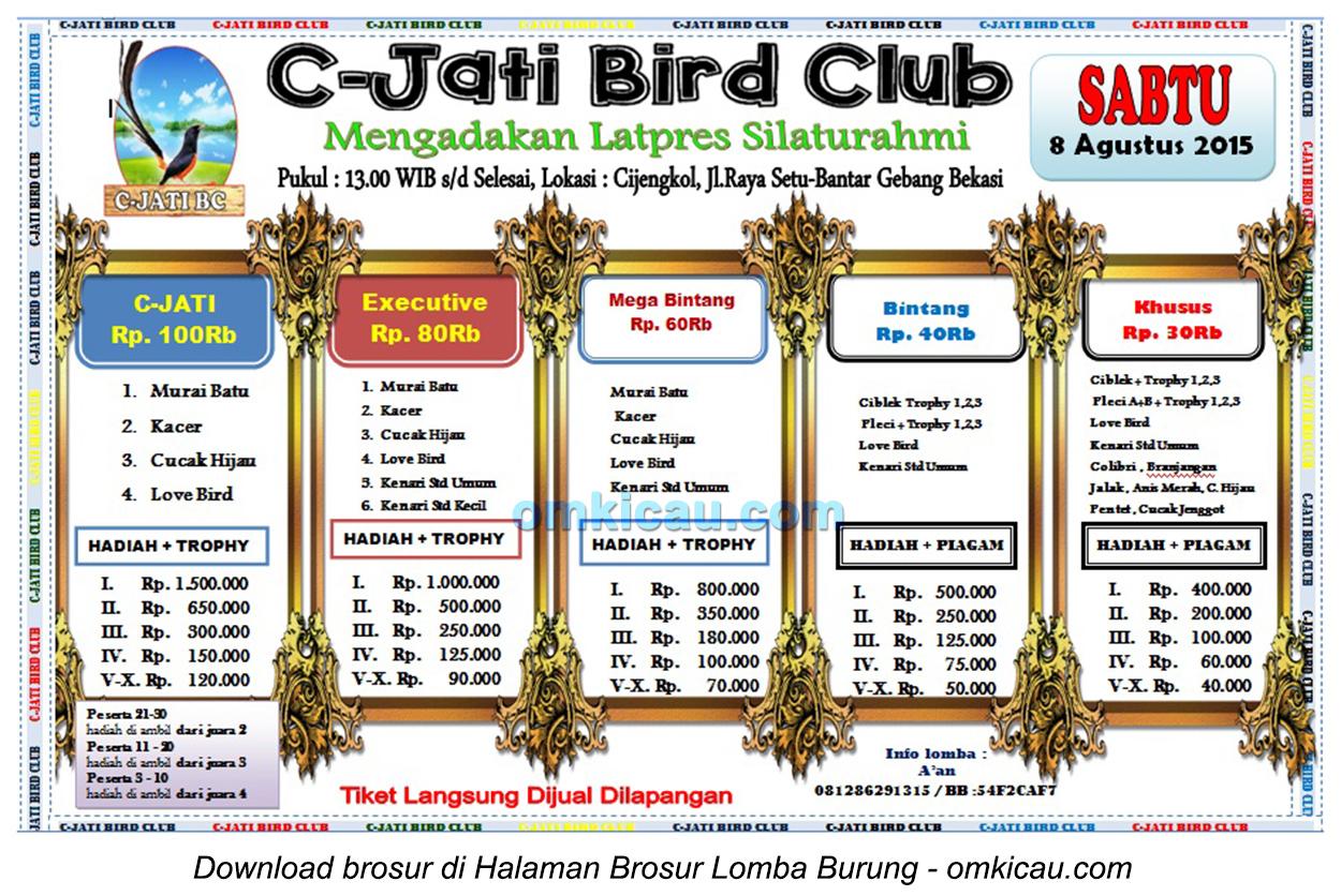 Brosur Latpres Silaturahmi C-Jati Bird Club, Bekasi, 8 Agustus 2015