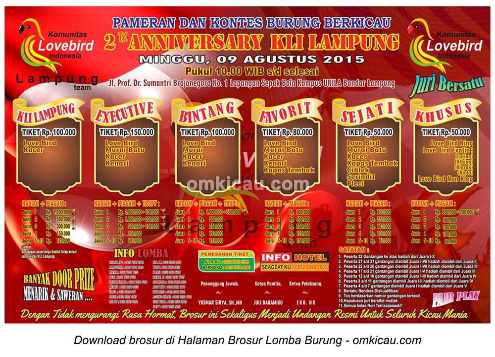 Brosur Lomba Burung Berkicau 2nd Anniversary KLI Lampung, Bandarlampung, 9 Agustus 2015