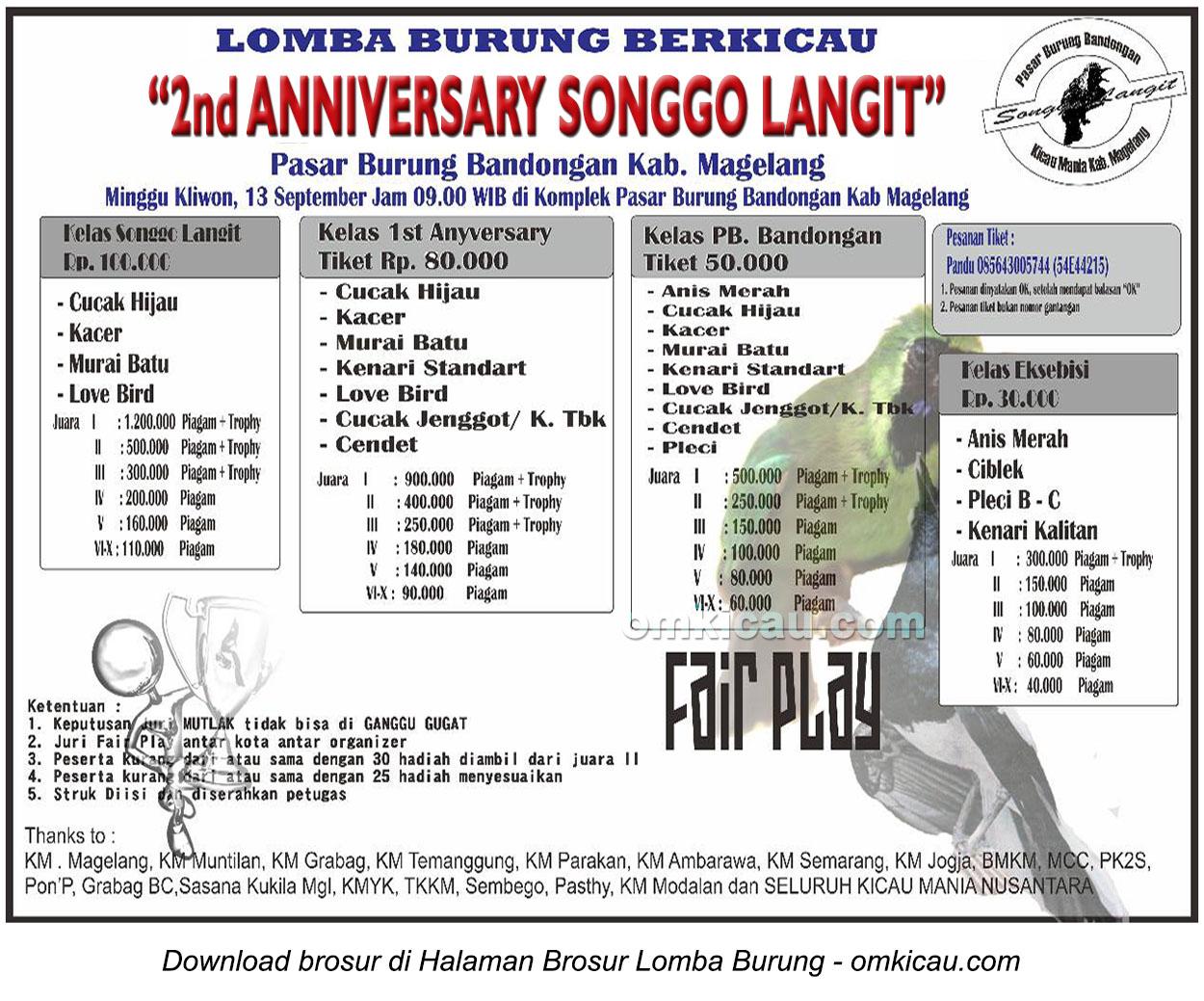 Brosur Lomba Burung Berkicau 2nd Anniversary Songgo Langit, Magelang, 13 September 2015