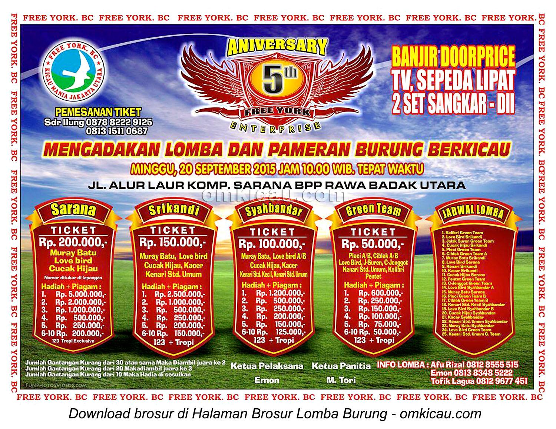 Brosur Lomba Burung Berkicau 5th Anniversary Free York, Jakarta 20 September 2015
