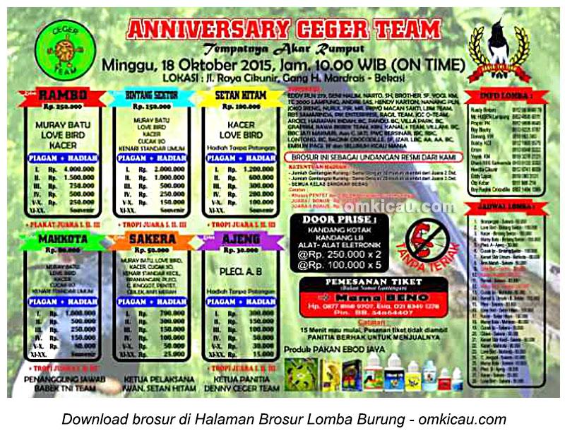Brosur Lomba Burung Berkicau Anniversary Ceger Team, Bekasi, 18 Oktober 2015
