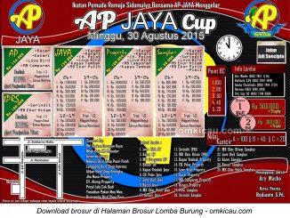 Brosur Lomba Burung Berkicau AP Jaya Cup, Pekanbaru, 30 Agustus 2015