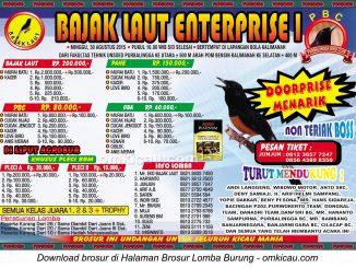 Brosur Lomba Burung Berkicau Bajak Laut Enterprise I, Purbalingga, 30 Agustus 2015