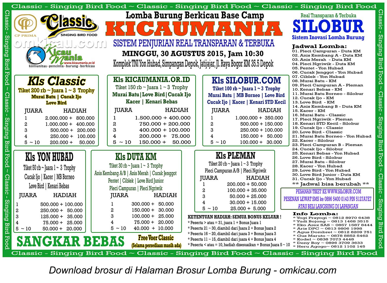 Brosur Lomba Burung Berkicau Base Camp Kicaumania, Depok, 30 Agustus 2015