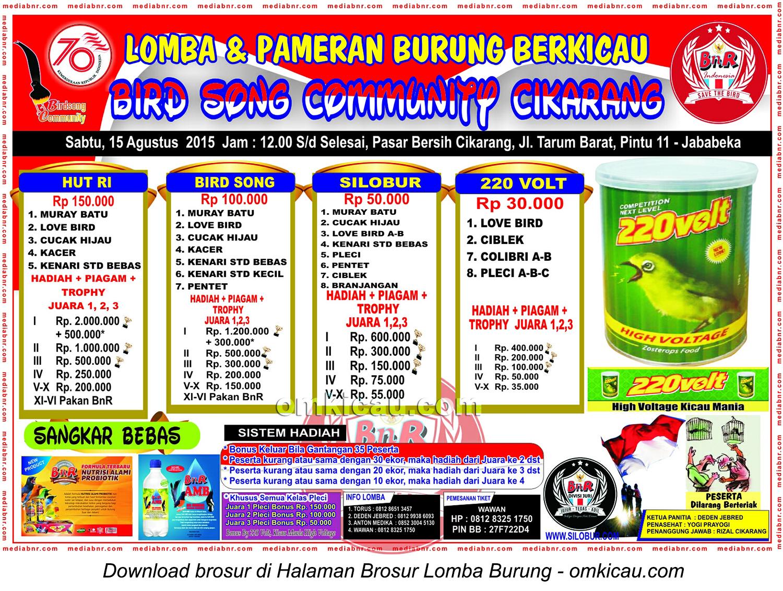 Brosur Lomba Burung Berkicau Bird Song Community Cikarang, 15 Agustus 2015