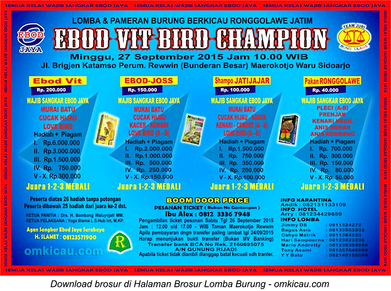 Brosur Lomba Burung Berkicau Ebod Vit Bird Champion, Sidoarjo, Minggu 27 September 2015